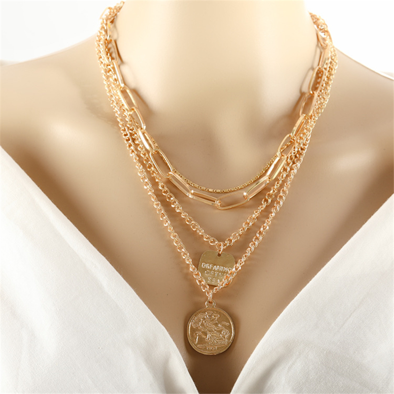 Vintage layered Napoleon Coin Pendant Gold Color Statement Necklace Big Chains