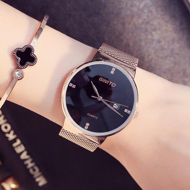 43b84d68c0e Nova Senhora Relógio de Forma Das Mulheres Elegantes Fino Ouro Rosa  Pulseira Banda Malha relógio de