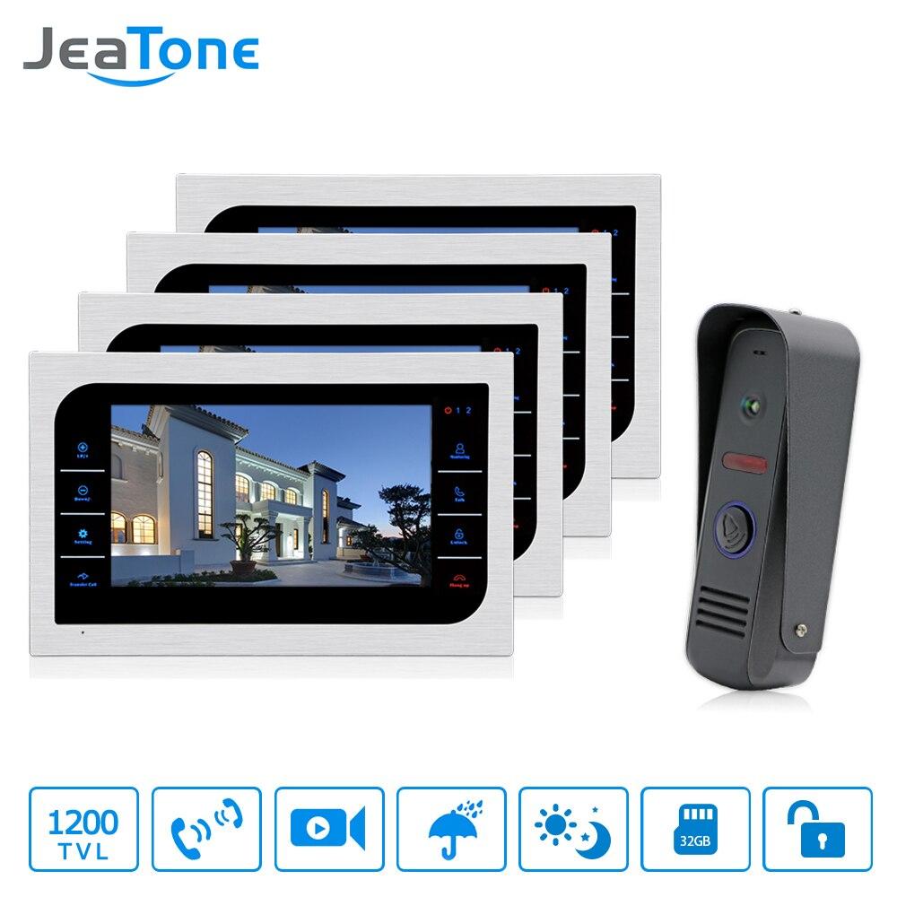 JeaTone Accueil Surveillance Interphone Système 4 pcs 10 LCD Moniteur Haut-Parleur Interphone Vidéo Porte Téléphone Sonnette 1200TVL Caméra