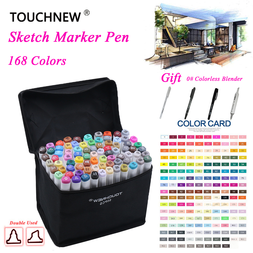 Touchnew Marker 168 Colors/set Alcoholic oily based ink Art Marker Set Best For Manga Dual Headed Art Sketch Markers touchfive marker 60 80 168 color alcoholic oily based ink marker set best for manga dual headed art sketch markers brush pen