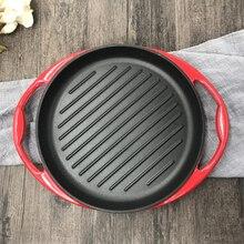 26 см утолщаются чугун обжарки стейк сковорода без антипригарное покрытие жаркое эмаль сотейник плиты мясо фритюрница сковороде ВОК
