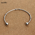 Sauvoo 2pcs Silver Plated Stainless Steel Open Expandable Wire Bangle Bracelets Cuff Blank Setting for Women DIY Charm Bracelet