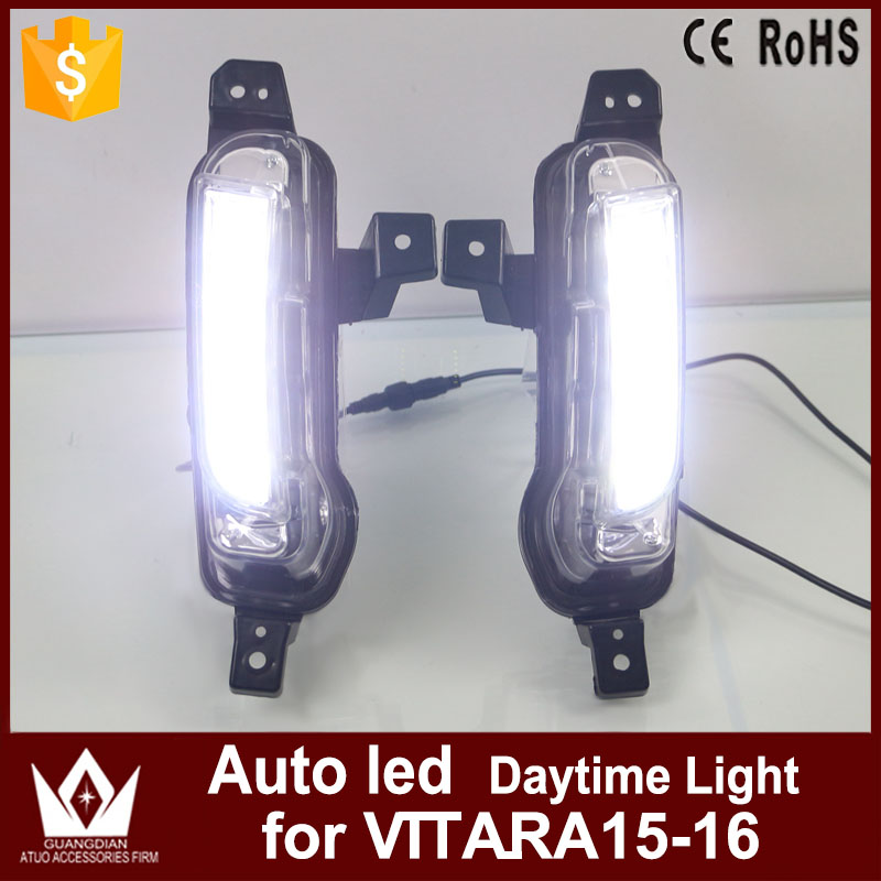цена на GuangDian New Car lights DRL Daytime Running Light Daylight Yellow Turning Signal Auto LED Fog Lamp For Suzuki Vitara 2015 2016