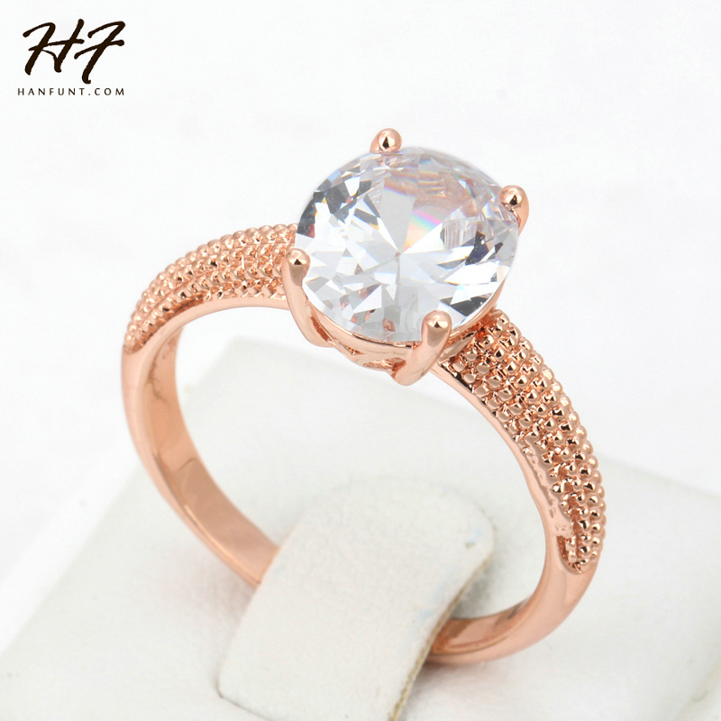 Top Quality Four Claw Oval CZ Crystal Rose Gold Color Wedding Ring Made with Austrian Crystals Wholesale R427 R428