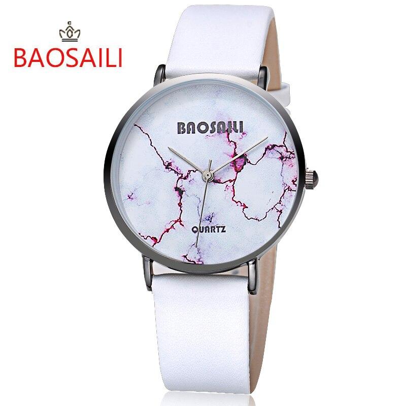 Baosaili Лидирующий бренд Красный Crack белый Мрамор Дизайн Настоящее золотое покрытие трещины Водонепроницаемый модные часы для Для женщин нару...