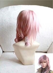 Image 4 - Final Fantasy FF13 Fulmine Misto Rosa Lungo Resistente Al Calore Dei Capelli del Costume di Cosplay + Protezione della Parrucca Libera