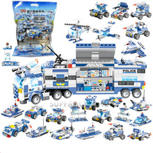 8Pcs/lot City Police SWAT Team Truck Car Technic Bricks Building Blocks Sets Figures Playmobil Educational Toys For Children new city engineering team demolition site building block worker figures truck forklift bricks 60076 educational toys for kids