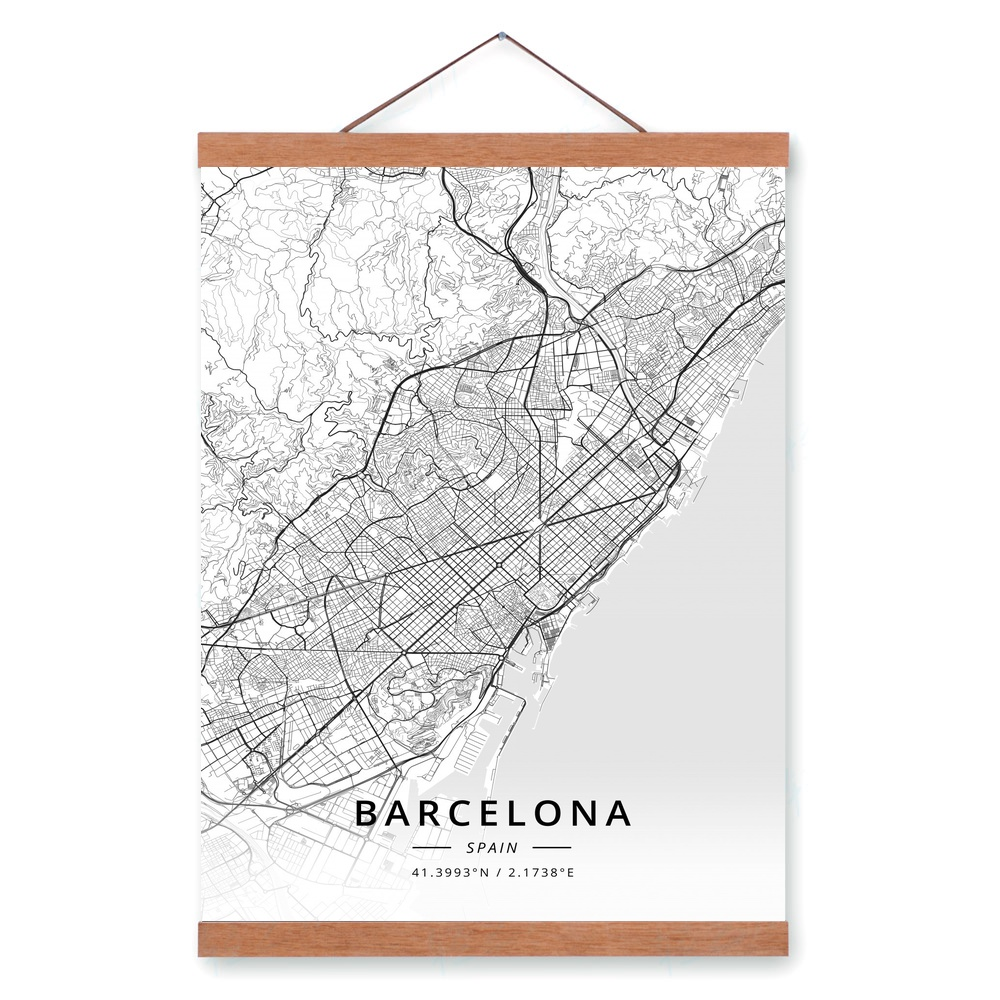 Barcelona In Spain Map.Barcelona Spain City Map Wooden Framed Canvas Painting Home Decor