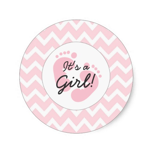 38cm Pink Its A Girl Baby Shower Envelope Seals Classic Round