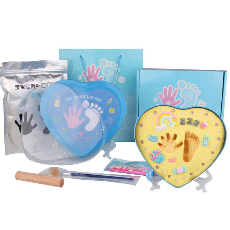 DIY 0-1 Year Baby Handprint Footprint Maker Baby Souvenirs Inkpad Kit Baby Footprint Clay Cute Decorating Ornaments