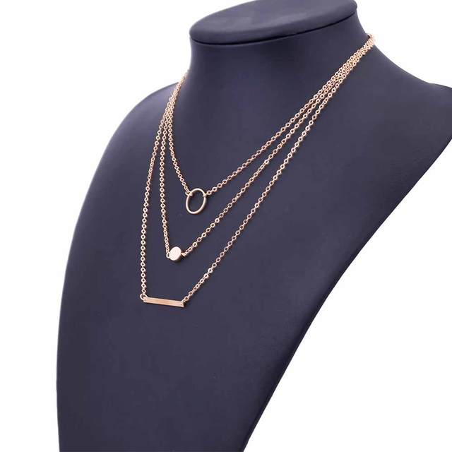 FAMSHIN 2017 New Fashion Wild Aperture Metal Rods Necklace Gold Silver Layered Necklace For Women Charm Gift 3