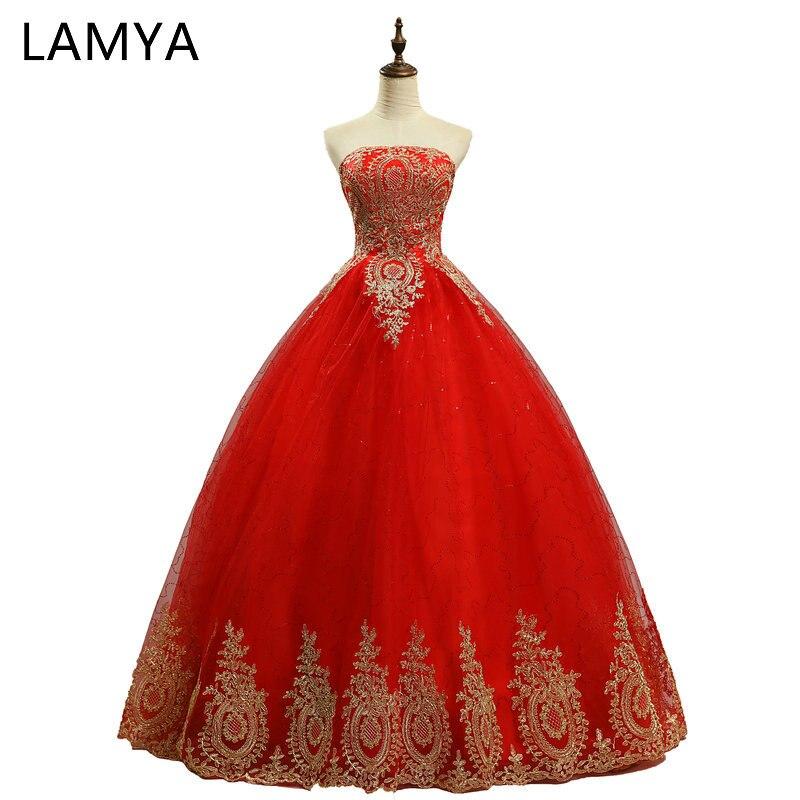 LAMYA Puteri Embroidery Emas dengan Pakaian Perkahwinan Merah 2018 Pakaian Sweetheart vestido de noiva Fesyen Murah Lace Pakaian Gaun Pengantin
