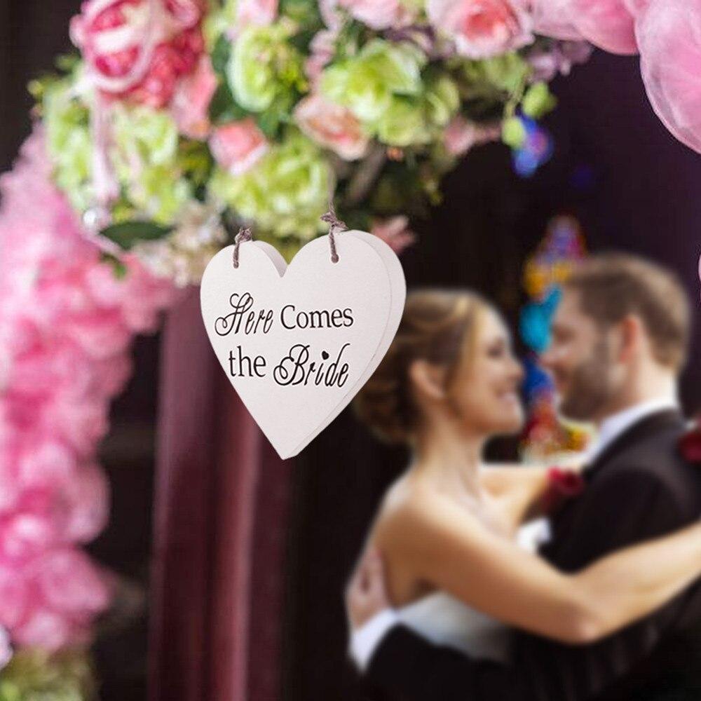 Здесь идет Невеста деревянный белое свадебное для девочек в цветочек церемонии Войти Декор Свадебные украшения вечеринок