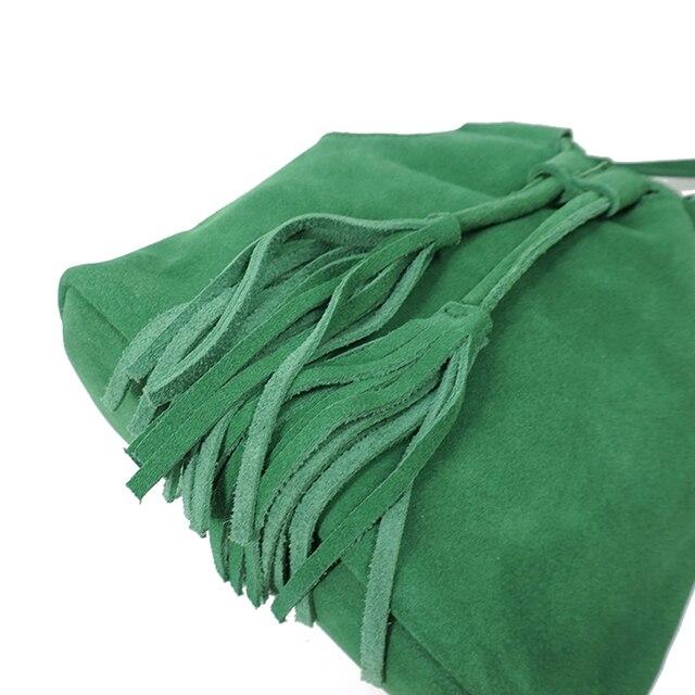 LilyHood 2018 Genuine Leather Small Bucket Shoulder Bag For Women Fashion Leisure Summer Ibiza Suede Fringe Green Crossbody Bag 2