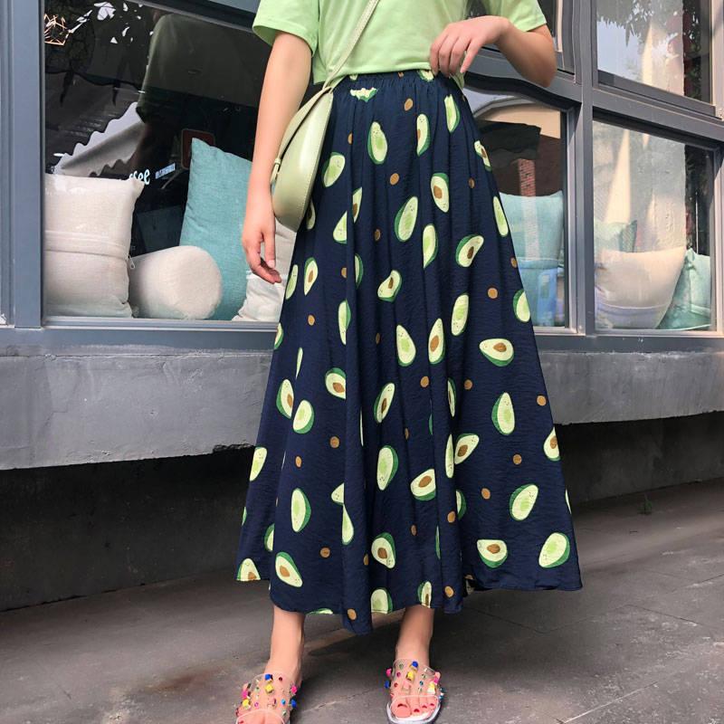 Korean Women's New Summer Long Skirt Fruit Print High Waist Small Fresh Loose Skirt A-type Elastic Waist Pleated Skirt