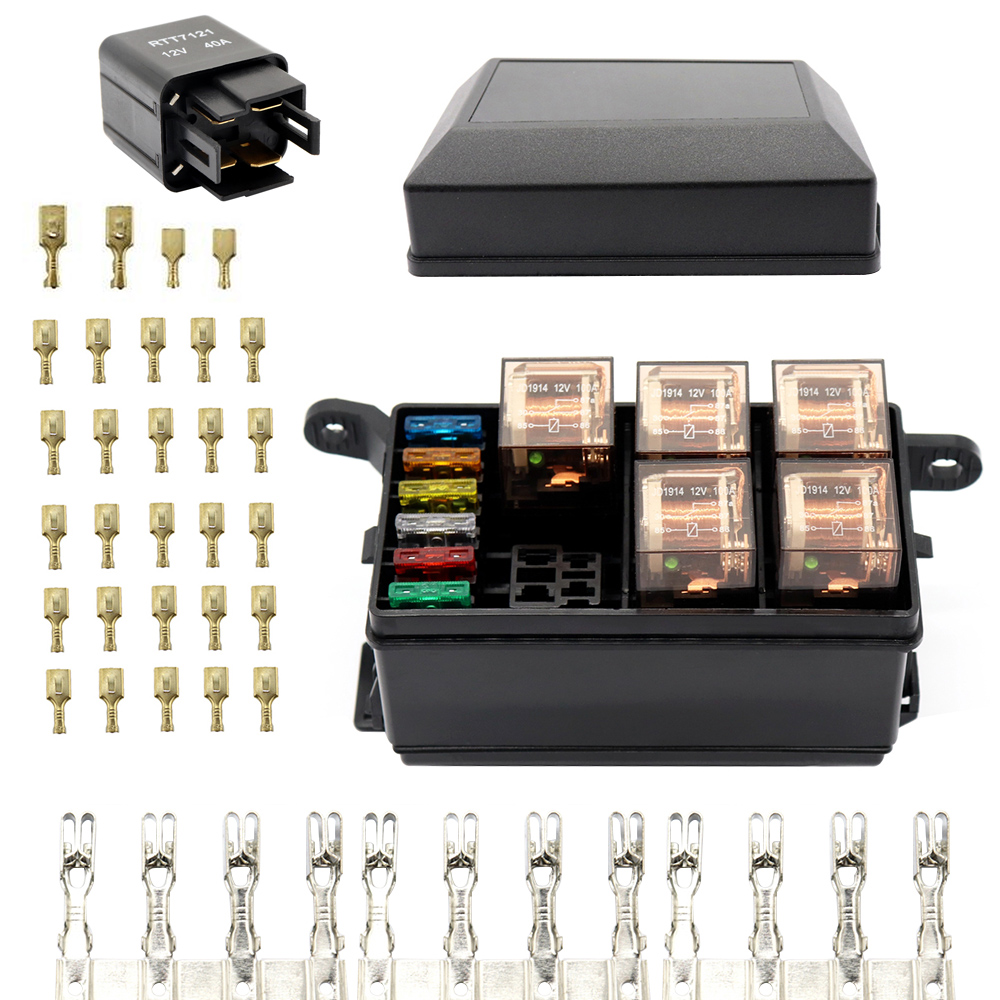 Universal Automotive Fuse Relay Holder 12 Slot Box 6relays 6 And Atc Ato