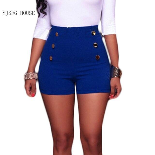 7bc947f17 Alta cintura corta de verano Mujer botón elástico sólido Pantalones cortos