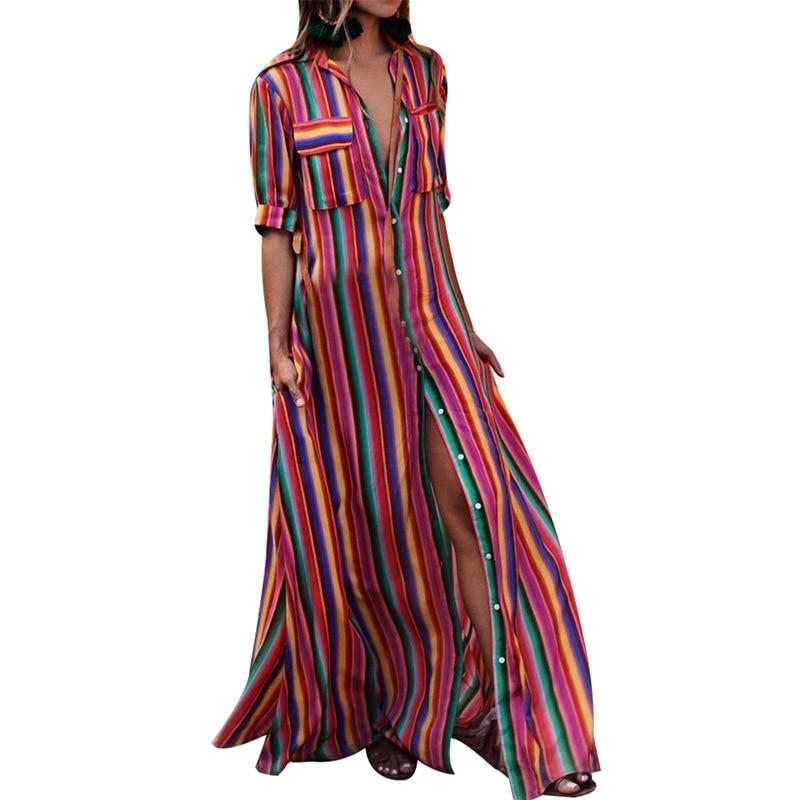 New Turn Down Collar Office Ladies Stripe Shirt Dress Long Chiffon Beach Dress Casual Long Sleeve Elegant Party Dress Vestidos