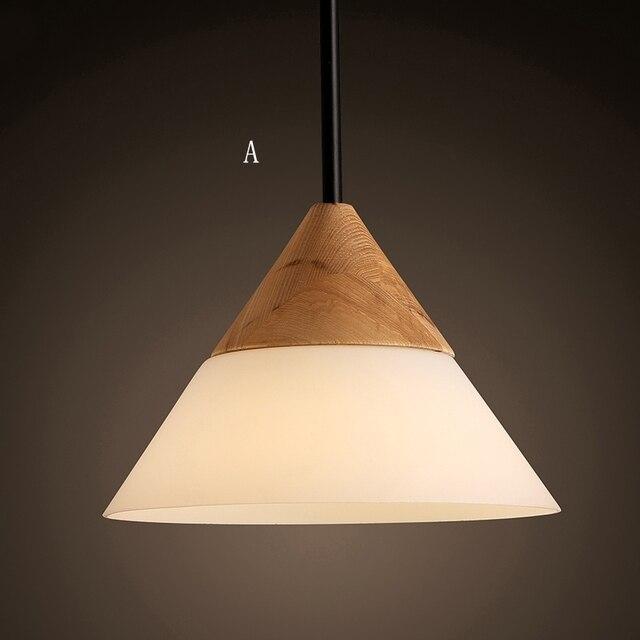 Modern Simple Fashion Wooden Gl Pendant Lights Dining Room Kitchen Light Lamp E27 110v