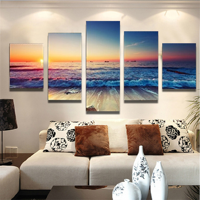 2017 5Pcs Unframed Nice Seascape Ocean Waves Painting Modern Home Decor Living  Room Canvas Art HD
