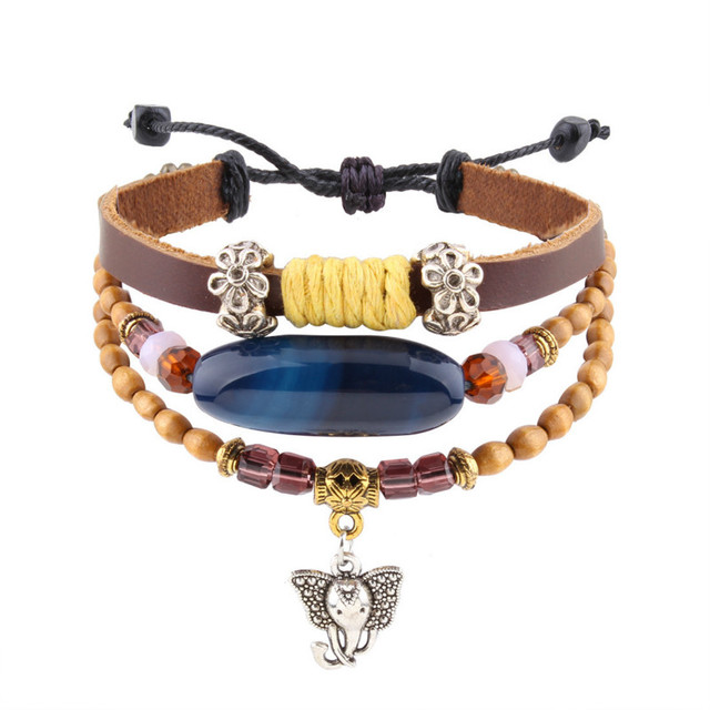 New Cute Elephant Charm Leather Bracelet Features Wooden Beads Braided For Women African Tribal Ankara