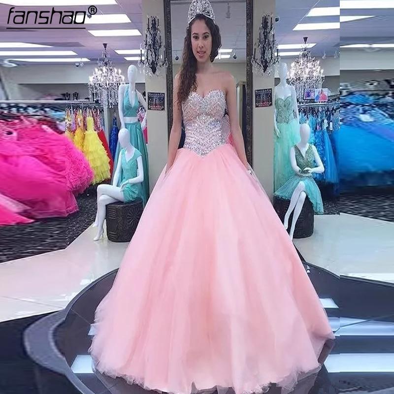 Unique grande taille dentelle Tulle A-Line2019 chérie sans manches Quinceanera robes de luxe perlé princesse bal de promo robes de bal