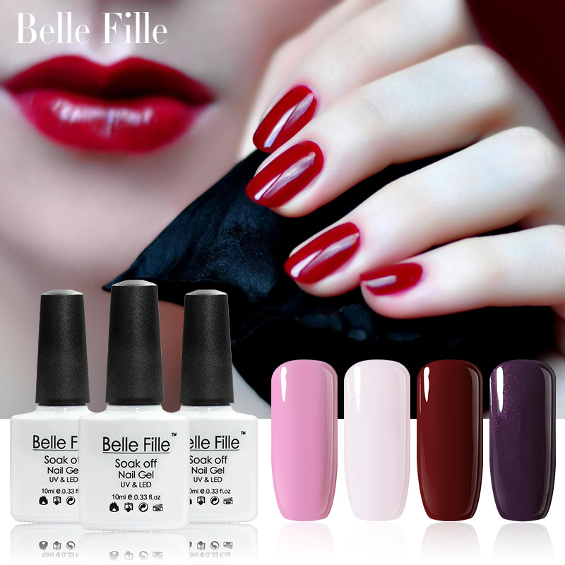 Belle Fille UV LED Gel Vampire Bloed Rode Wijn Nail Gel Polish Roze Leuke Mooie Nagellak UV Gel Manicure Art Soak Off Nail Gel