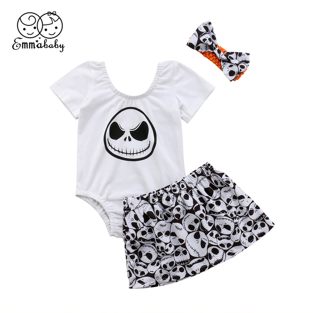 de0faadf1 2018 Emmababy Newborn Baby Girl Hallowmas Shirt+Short Skirt+Headband ...
