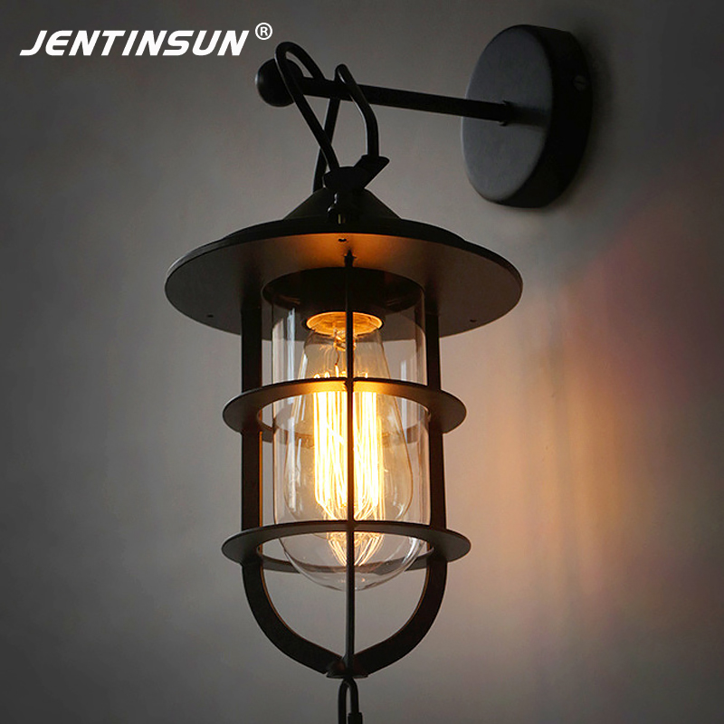 New Iron Dock Wall Lamp Retro Loft Sconce Restaurant Bar Coffee Shop LED Wall Light Mounted Meta Glass Night Lights for Corridor