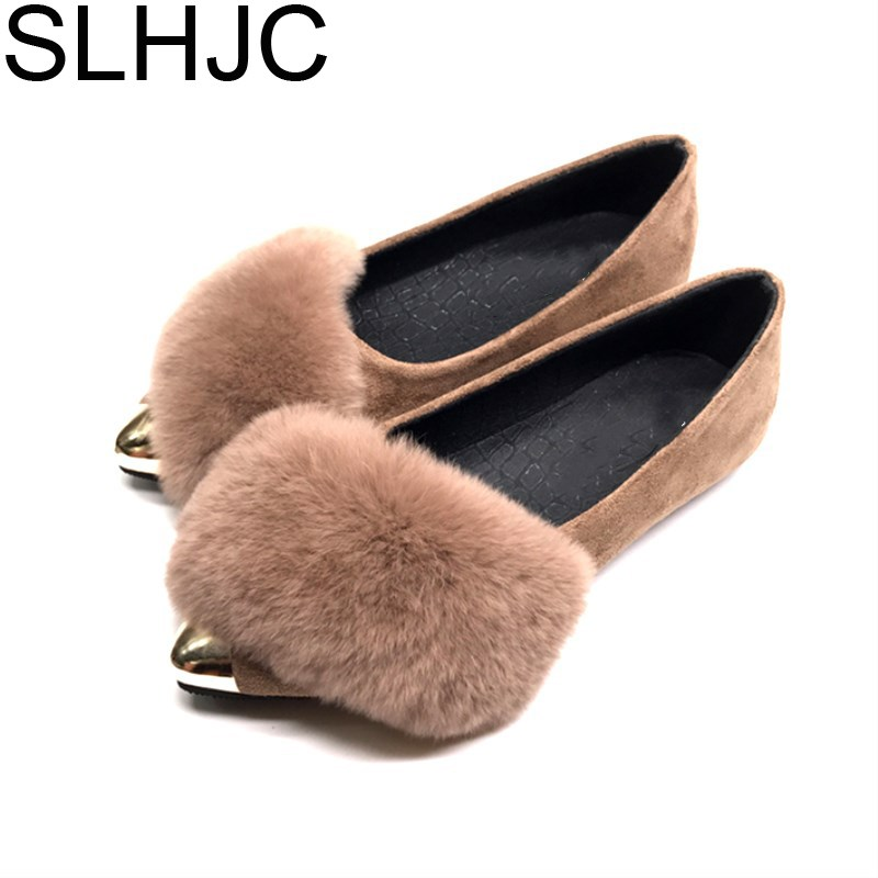 SLHJC 2017 Autumn Metal Toe Pointed Flat Heel Shoes Slip On Women Fashion Real Fur Flats Loafers D15 new brand autumn women metal flat shoes casual lady slip on flats soft soled natual leather pointed toe shoes comfort female