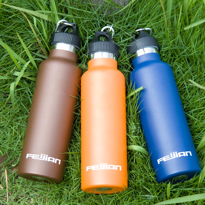 FEIJIAN Premium Vacuum Insulated Stainless Steel Sports Water Bottle Wide Mouth Thermos Leak-proof Flask Canteen 600mL 20oz