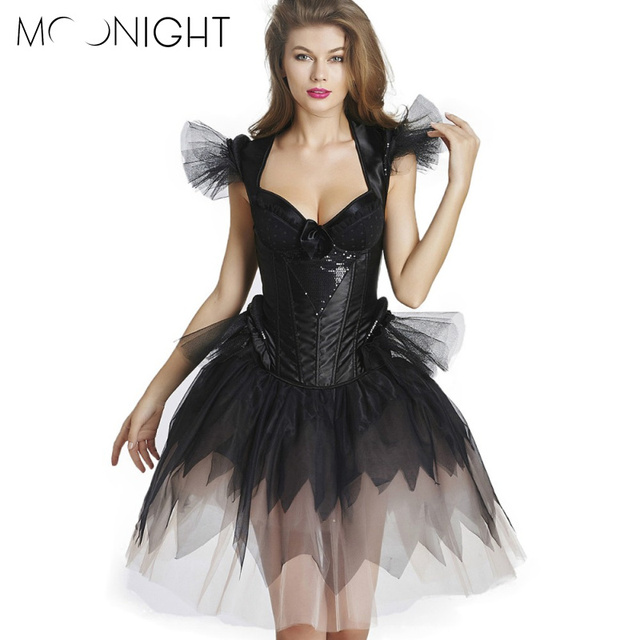 MOONIGHT Women Sexy Corset Dress Overbust Black Solid Corset with Sequined Backless Sexy Bustiers S-2XL