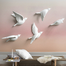 White birds décor wall in stickers 3d Birds decoration garden living room kids figurine miniatures