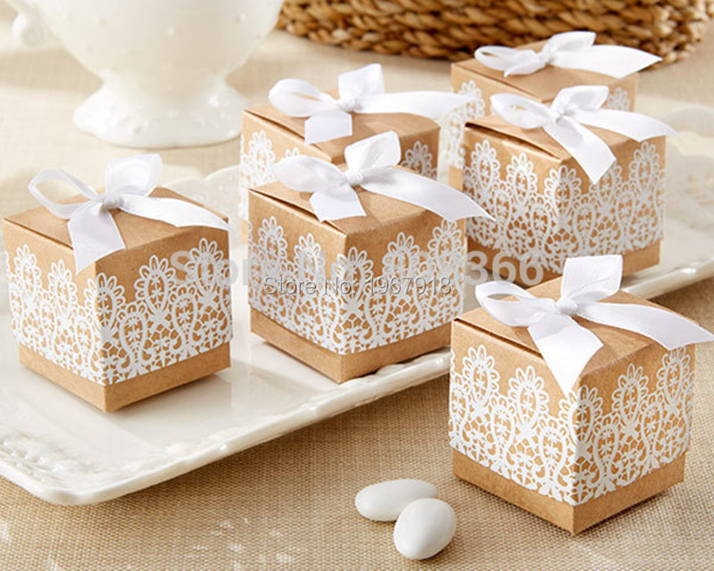 120pcs Rustic Wedding Favors White Lace Kraft Paper Candy Box Favor ...