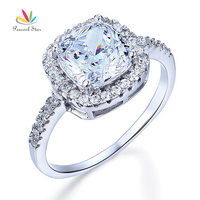 Wholesale 3 Carat Cushion Cut Created Diamond Solid 925 Sterling Silver Wedding Engagement Ring Jewelry CFR8138