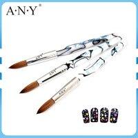 Profesyonel Beyaz Kolinsky Sable Fırça Boyutu #16/#18/#20/#22 Akrilik Nail Art Builder Fırçalar Oval Saf Samur Tırnak UV Jel kalem