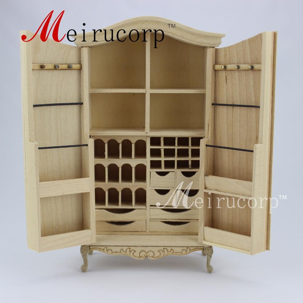 Nenatřený domeček pro panenky 1:12 zmenšený nábytek Skládací skříň