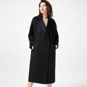 Image 3 - IRINAW902 mới xuất hiện 2018 handmade đôi phải đối mặt với Len Cổ Điển đôi rời dài Cashmere Áo Khoác Len Nữ