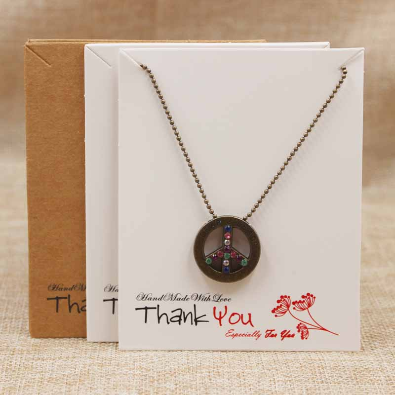 100pc Jewelry Card Tag Handmade Charms Necklace Package Card Tag .white/kraft Thank You Necklace Pendant Display Tag Card 10*8cm