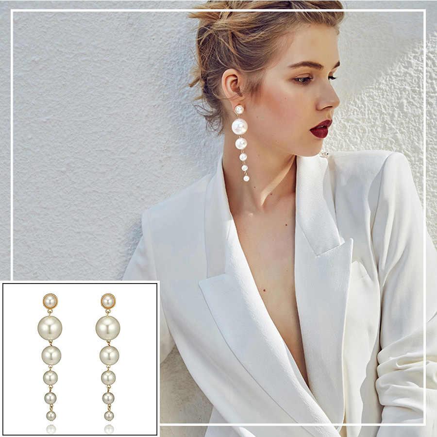 RAVINOUR Big Created Pearl Earrings for Women Jewelry Fashion Statement Long Drop Earring korean Female Hanger Earing Party 2018