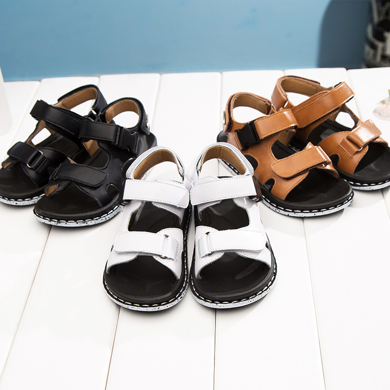 Leather Sandals Boys 2018 New 100% Soft Genuine Leather Sandals for Boys Children Beach Shoes Kids Sport Sandals School Shoes