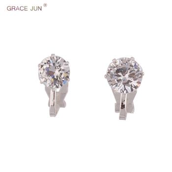 GRACE JUN Hot Sale Cubic Zircon Small Round Geometric Clip on Earrings for Girl Kid Party.jpg 350x350 - GRACE JUN Hot Sale Cubic Zircon Small Round Geometric Clip on Earrings for Girl Kid Party Charm Without Pierced Earring Ear Clip