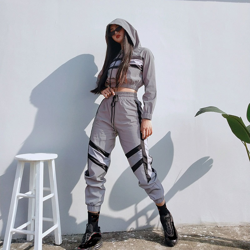 streetwear silver reflective tracksuit womens 2 piece sets 2019 Hooded crop top and pants striped jogging femme two piece set