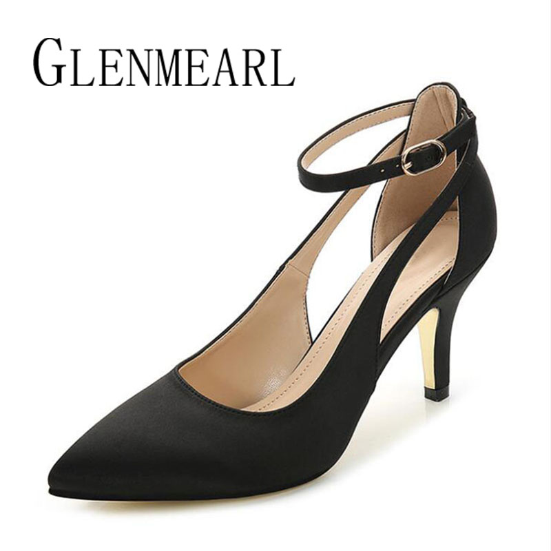 Brand Women Pumps High Heels Shoes Spring Plus Size Pointed Toe Single Shoes Woman Thin Heels Black Ankle Strap Wedding Pumps 45 siketu 2017 free shipping spring and autumn women shoes fashion sex high heels shoes red wedding shoes pumps g107