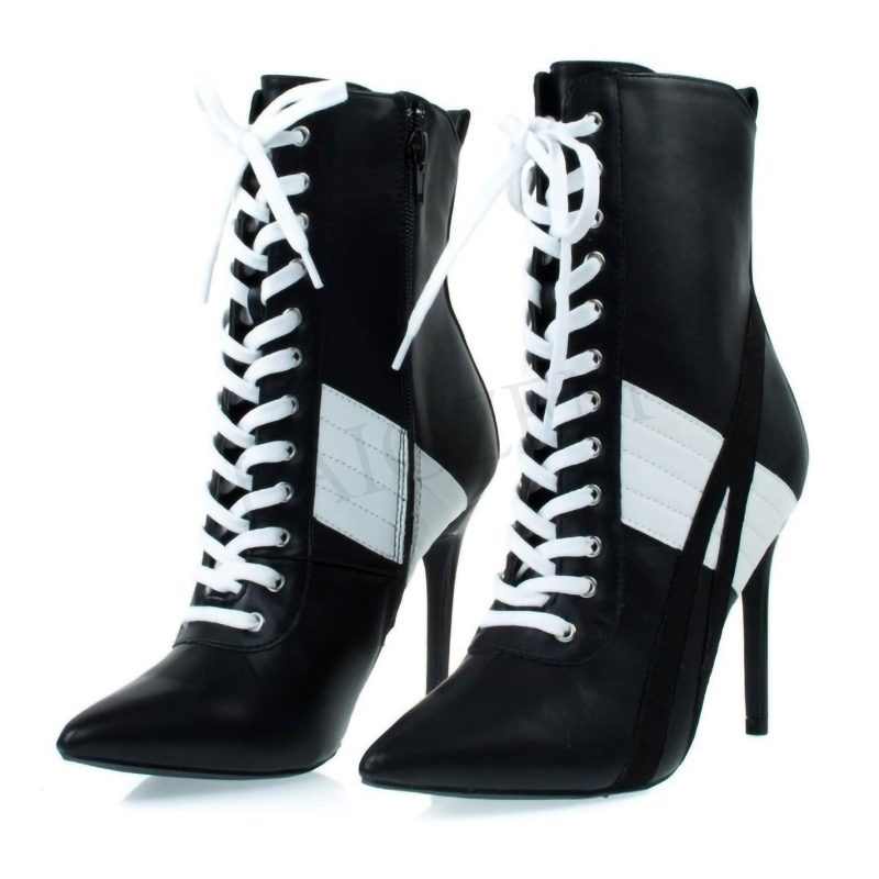LAIGZEM femmes noir et blanc à lacets bottes dos Zip talon haut bottines chaussures femme dames Botines Mujer grande taille 34-47