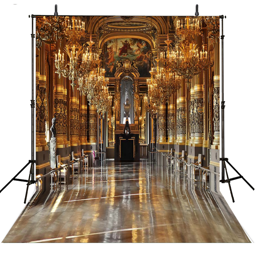 indoor background studio foto backdrop backdrops gold wedding vinyl backgrounds room palace achtergrond zoom aliexpress props