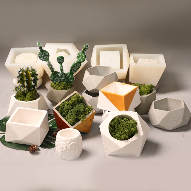 Succulent plant Concrete Flower Pot Mold Many Low-cost Promotion Cement Gypsum Silicone Mold