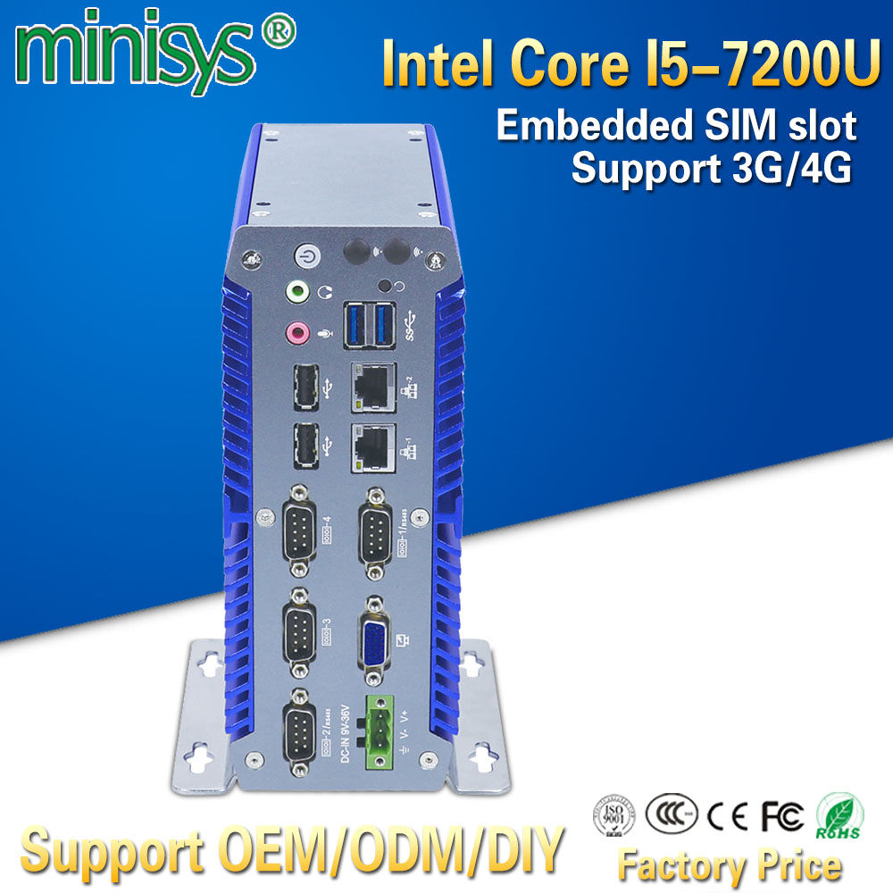 Minisys промышленный Мини компьютер синий ITX чехол Intel Core i5 7200u Dual Lan Turbo Boost 3,1 ГГц тонкий клиент поддержка 9 ~ 36 в широкий напряжение