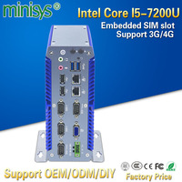 Minisys industrial Mini PC Blue ITX Case Intel Core i5 7200u Dual Lan Turbo Boost 3.1GHz Thin Client Support 9~36V wide voltage