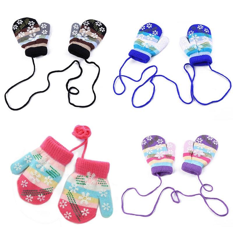 Baby Gloves Autumn Winter Children Warm Gloves Kid Boys Girls Soft Snowflake Stripe Mittens Baby Accessories